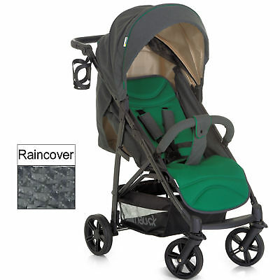 New Hauck Caviar / Emerald Rapid 4 Pushchair Stroller Baby Buggy With Raincover