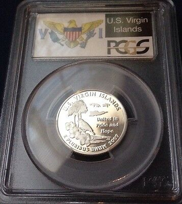 2009 S U.S. Virgin Islands PCGS Proof PF 69 DCAM 90% Silver Quarter (Flag Label)