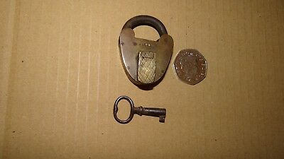 vintage / Antique  brass padlock with key