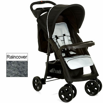 New Hauck Caviar / Silver Shopper Neo 11 Stroller Baby Buggy With Raincover