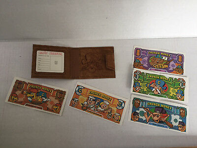 Vintage 1982 Cap'N Captain Crunch Cereal Wallet and 5 Bills of Fake Paper Money