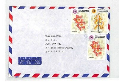 CA286 1980s Burundi Airmail FLOWERS Commercial Cover Austria MISSIONARY VEHICLES
