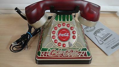 """COCA-COLA  """"2001""""  TIFFANY STAINED GLASS LOOK TELEPHONE RETIRED W Manuals IOB"""