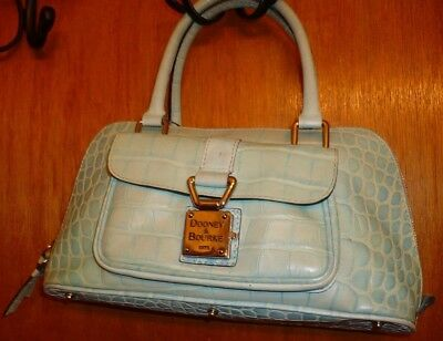 DOONEY & BOURKE Moc Croc Embossed Pale Green Leather Dome Tote Satchel Hand Bag