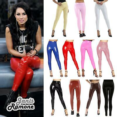 5caa929b43c8f1 Womens Shiny Wet Look High Waisted Stretchy Vinyl Skinny Leggings Pants  Trouser