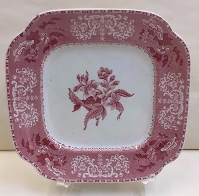 Spode CAMILLA RED (Scalloped) Square Salad Plate RARE More Items Available