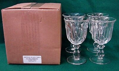 Imperial Glass OLD WILLIAMSBURG CLEAR Wine Stems SET OF THREE Mint in BOX