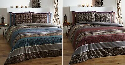 Luxury Indian Ethnic Print Duvet Quilt Cover Bedding Bed Linen Set Fusion New