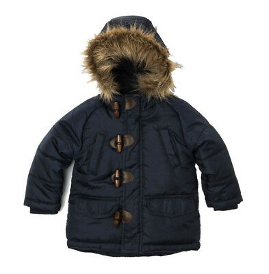 Baby Toddler Boys Padded Parka Puffa Jacket Coat Navy 18 Months - 3 Years