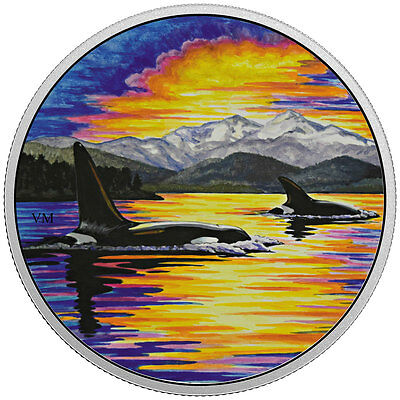 2017 Canada Glow Dark Moonlight Orca Whales 2 oz Silver $30 Proof OGP SKU48391