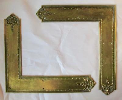 PR 19C Victorian Large BRASS L SHAPE DOOR PLATES Brackets Ornate Relief GR8