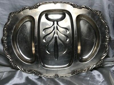 Large Georgian Style Silver Plate Acanthus Salver Platter Christmas Meats Tray