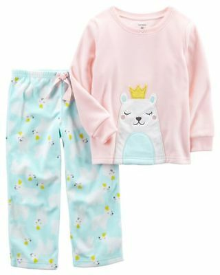 4edfc283f NEW CARTER S 2 Piece Fleece Polar Bear Applique PJs Girls 7 8 10 12 ...