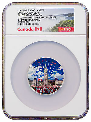 2017 Canada 2 oz Silver Colorized Glow in Dark Proof $30 NGC PF69 UC ER SKU48641