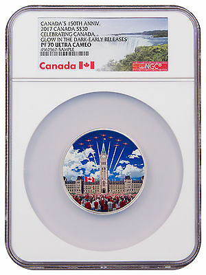 2017 Canada 2 oz Silver Colorized Glow in Dark Proof $30 NGC PF70 UC ER SKU48642