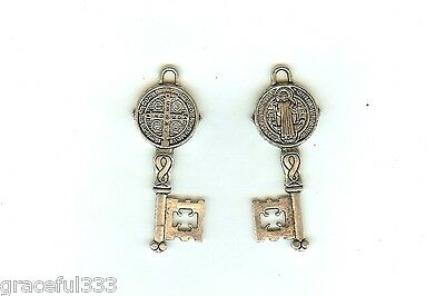 RELIGIOUS one only  KEY MEDALS  ST. BENEDICT SILVER PLATED  30mm TINY SO CUTE