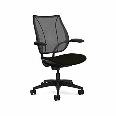 Liberty Chair by Humanscale: Foam Seat - Height-Adjustable Duron Arms - Black/Bl
