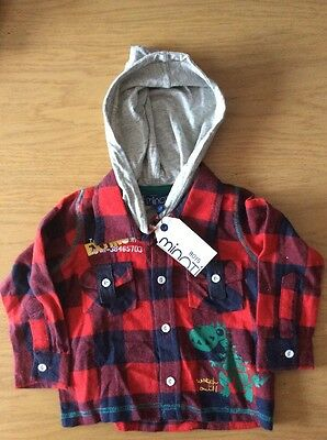 *BNWT* Boys Check Woven Hooded Shirt By MINOTI (6-12 mths) *FREE UK P&P*