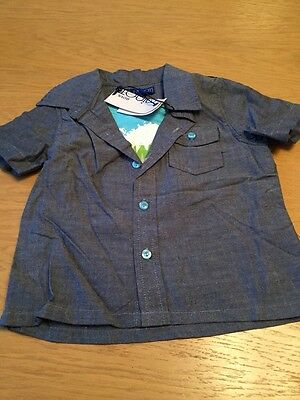 BNWT Boys Grey Shirt and Insert By MINOTI (18-23 Mths) **FREE UK P&P**