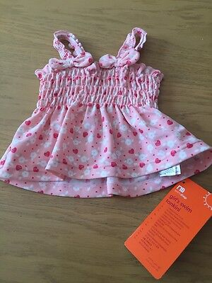 BNWT Girls Pink Tankini TOP By Mothercare (0-6 Months) **FREE UK P&P**