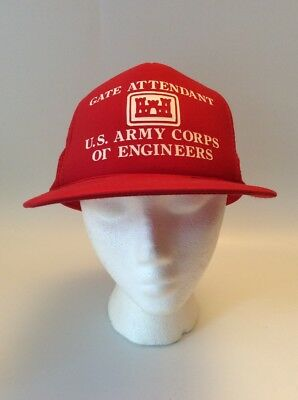 Vintage US ARMY, Corps Of Engineers, Hat / Cap, Trucker Hat, Mesh Back, RED
