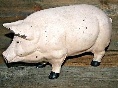 Vintage Pink Painted Cast Iron Pig Doorstop Piggy Bank Large Heavy Collectible