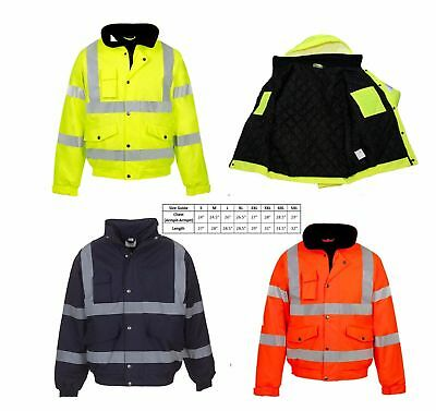 Hi Viz High Vis Visibility Quality Bomber Jacket Waterproof Security Coat Men's