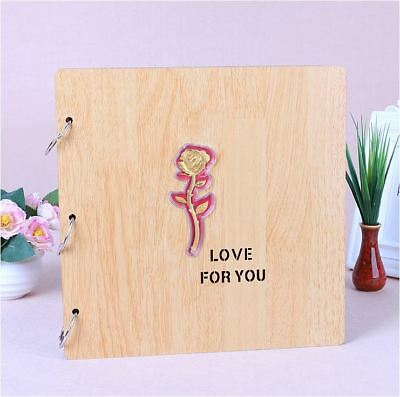 DIY 27cm Square Beige Wood Cover 3Ring Photo Album Wedding Scrapbook 18KGP ROSE