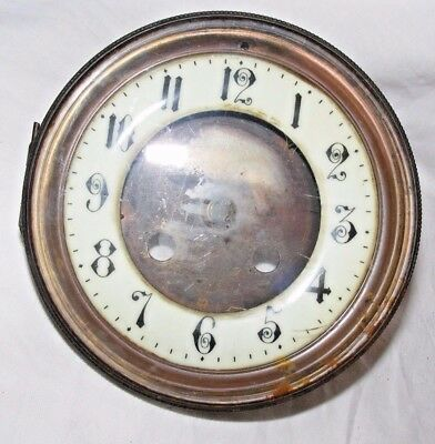 Antique Enamel Bronze Clock Face Hinged Glass Window Front Reg No 2167 Marked An
