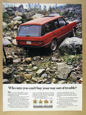 1988 Range Rover Classic red truck boulders rocks photo vintage print Ad