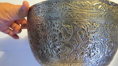 RARE VINTAGE 19TH Century  THAILAND  Hand Carved  Leafs  SILVER  BOWL.