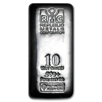 10 oz Silver Bar RMC - Cast - Republic Metals Corp