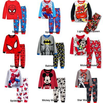 Spiderman Mickey Mouse Kids Toddler Baby Boys Pajamas Pjs Sets Clothes Sz 2-7