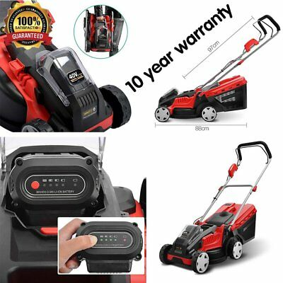 700W Lawn Mower Cordless Lawnmower with 40V Lithium Battery & Charger Black Red