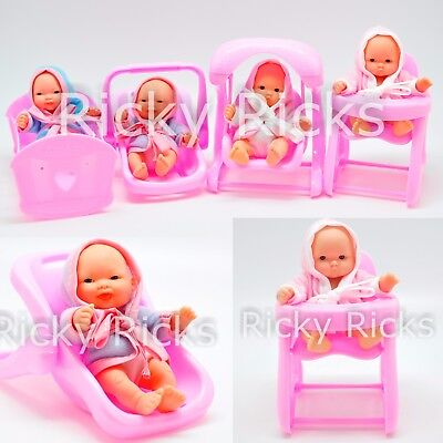 6 Small Baby Dolls Carrier Girl Pink Toy Seat Crib Kids Toddler Cute Birthday