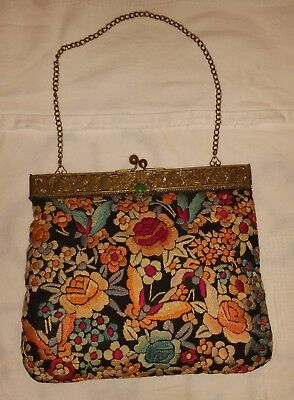 Chinese 1940's delightful unique Tapestry Evening Bag with Jade Drop