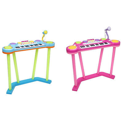 Kids Blue/Pink 37-Key Electronic Piano Keyboard with Microphone Child Toys Gift