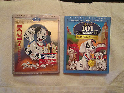 101 Dalmatians 1 And II (Bluray/DVD,With Digital HD.) W/Slipcover Disney OOP NEW