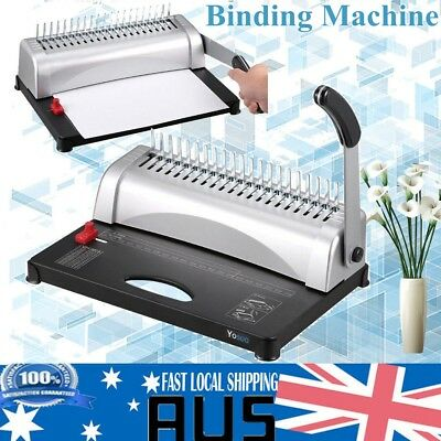 DIY Manual 21 Plastic Holes Comb Binder Binding Machine 450 Sheets 12 Pages BLK