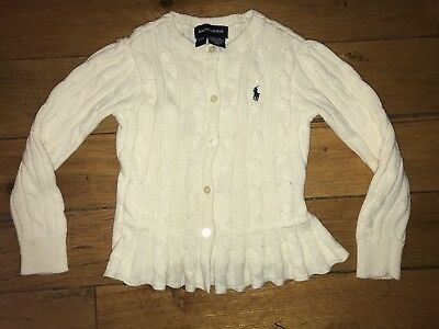 POLO RALPH LAUREN TODDLER GIRL (4T) CARDIGAN CABLEKNIT SWEATER~Cream off white