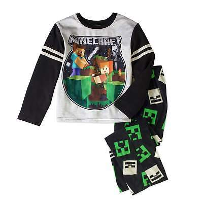 NWT Minecraft Steve Creeper Boy Pajamas PJ Set Shirt Sleep Pants 6 8 10 12 14 16