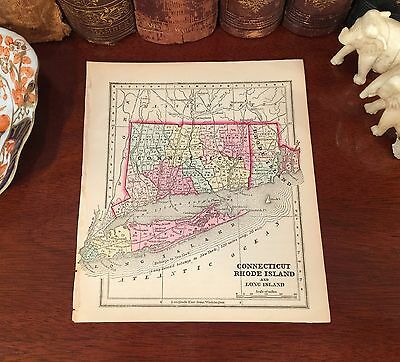 Original 1856 Antique Pre-Civil War Map CONNECTICUT RHODE ISLAND Hand-Colored