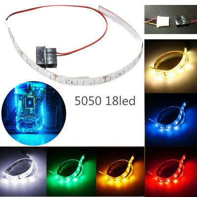5050 SMD 18 LED Flexible Strip Light Waterproof DC 12V For PC Computer Case