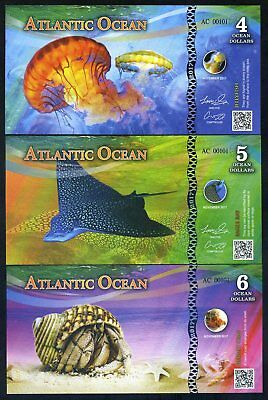 SET Atlantic Ocean 4;5;6 Ocean Dollars 2017 - 3 Note Marine Life Set