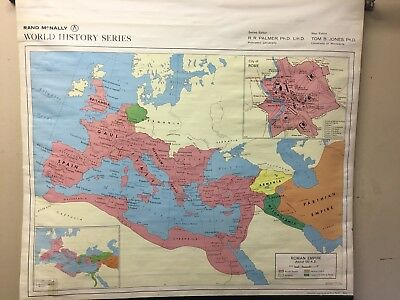 Vintage Rand McNally Pull Down School Wall Map of Roman Empire/price reduced