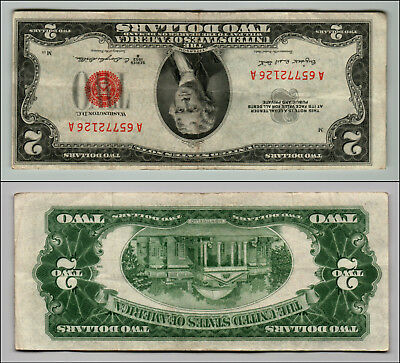 1953B $2 Dollar Bill Old Us Note Legal Tender Paper Money Currency Red Seal Z196