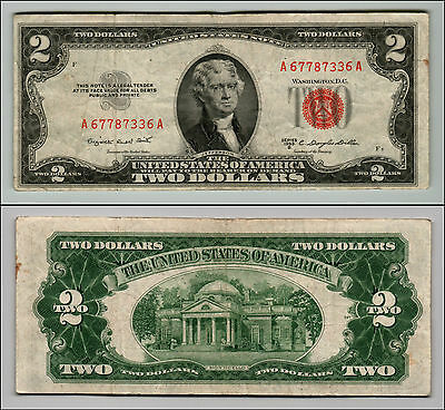 1953B $2 Dollar Bill Old Us Note Legal Tender Paper Money Currency Red Seal Z208