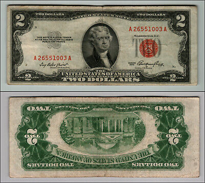 1953 $2 DOLLAR BILL OLD US NOTE LEGAL TENDER PAPER MONEY CURRENCY RED SEAL p855
