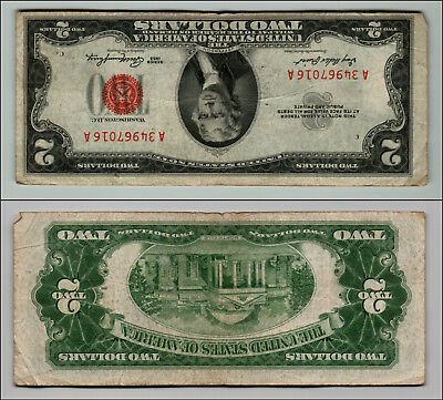 1953 $2 Dollar Bill Old Us Note Legal Tender Paper Money Currency Red Seal Q816