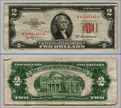 1953A $2 Dollar Bill Old Us Note Legal Tender Paper Money Currency Red Seal Q820